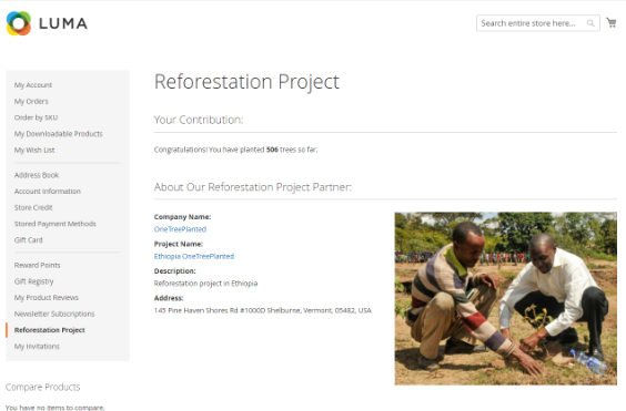Absolute Magento Reforestation extension customer account page