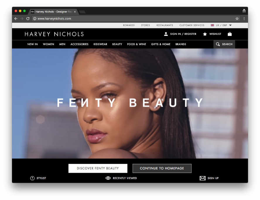Harvey Nichols launches Fenty by Rihanna home page