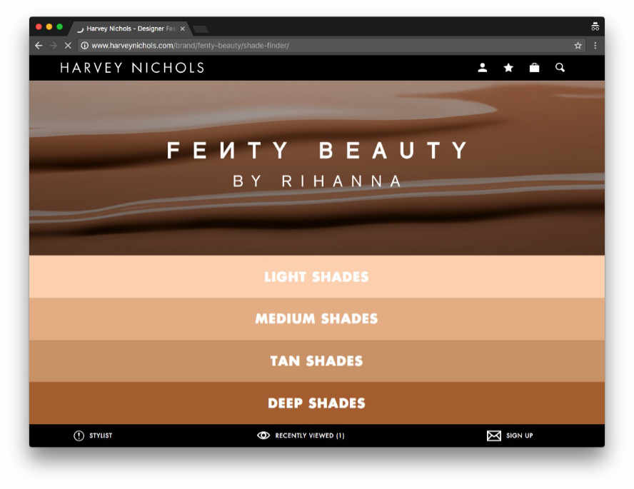 Harvey Nichols launches Fenty by Rihanna shade finder page
